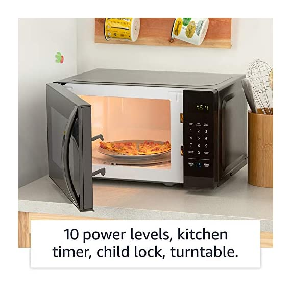Amazon Basics Microwave bundle with Echo Dot (3rd Gen) - Charcoal 14 Now it's easier to defrost vegetables, make popcorn, cook potatoes, and reheat rice. With an Echo device (not included), quick-cook voice presets and a simplified keypad let you just ask Alexa to start microwaving. Automatically reorder popcorn when you run low and save 10% on popcorn orders-enabled by Amazon Dash Replenishment technology Compact size saves counter space, plus 10 power levels, a kitchen timer, a child lock, and a turntable.
