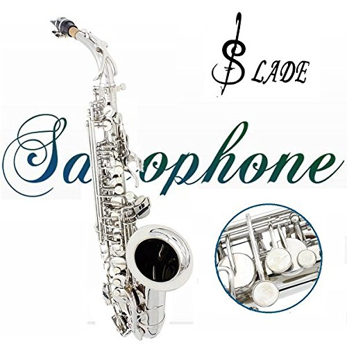 LADE Alto Eb Silver Saxophone Sax Paint Silver With Case with Accessories by SOUND HOUSE 40 (Image #1)