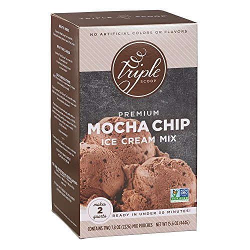 Triple Scoop Ice Cream Mix, Premium Chocolate Mocha Chip, starter for use with home ice cream maker, non-gmo, no artificial colors or flavors, ready in under 30 mins, makes 2 qts (1 15oz box) (Scoop Mix 1)