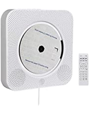 Retekess TR609 Portable Bluetooth CD Player, Wall-Mounted FM Radio with Remote Control, MP3 Speaker with USB, TF, AUX Ports, Home Audio with Pull Switch (White)