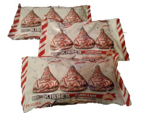 Hershey's Kisses with Candy Cane Flavored White Chocolate Candy, 8-Ounce Bag (Pack of 3) ()