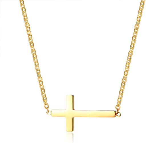 viStar Stainless Steel Yellow IP-Plated Sideways Cross 18in Necklace