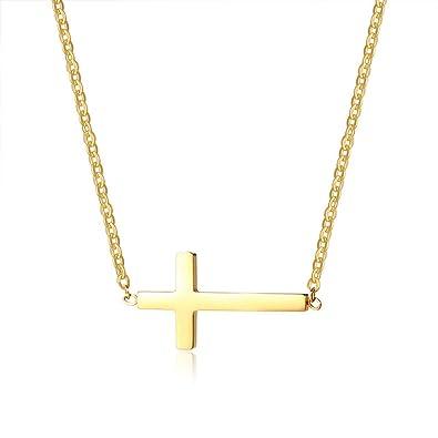 Amazon.com: MOMOL Collar con colgante de cruz lateral ...