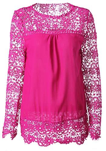 Femme Dentelle Shirt Chemise Mousseline Printemps Haut 6XL XS Taille Ajour Manche Pull Automne Cocrao Rose Grande Longue Sweat 0E1qBw