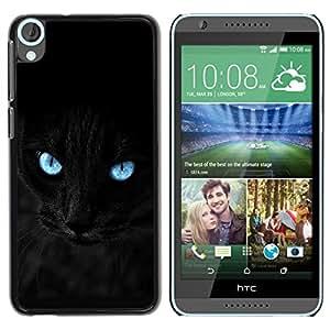 TECHCASE**Cubierta de la caja de protección la piel dura para el ** HTC Desire 820 ** Black Siamese Cat Panther Eyes Pet Feline
