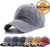 Unisex Vintage Washed Distressed Baseball Cap Twill Adjustable Dad Hat,J-grey,One Size