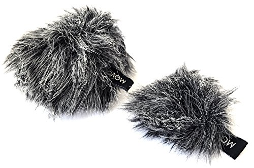 Movo WS-G10 Furry Outdoor Microphone Windscreens - Custom Fit for Shure Motiv MV88 iOS Microphone - 2 Pack (Nesting)