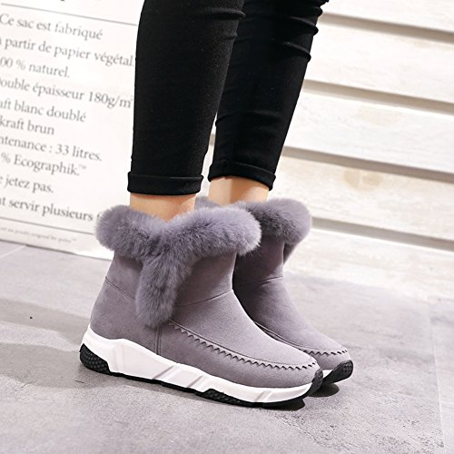 Ankle Snow Style fereshte Gray Warm Boots New Women's Flat Fleece Winter 60YqfaZw
