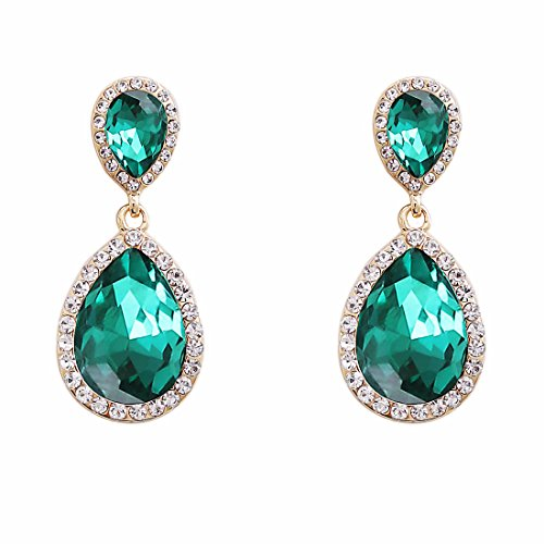 NLCAC Green Crystal Wedding Earrings Dangle Teardrop Pear Shape Long Chandelier Earring (Green Pear Earrings)