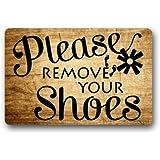 """Custom Machine-washable Door Mat Please remove your shoes Indoor/Outdoor Doormat 23.6""""(L) x 15.7""""(W)"""