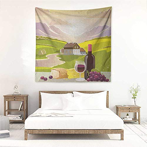 Winery Square Tapestry for Living Room Wine Cheese Bread with Mountain Landscape in French Rurals Pastoral Scenery Home Decorations for Bedroom Dorm Decor 55W x 55L INCH Green Purple Cream