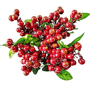 Wootkey 10 Pcs Plastic Artificial Flowers California Berries Rich Red Artificial Berry Stems Holly Christmas Berries for Festival Holiday and Home Decor 1