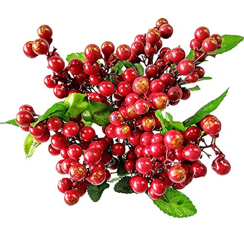 Wootkey 10 Pcs Plastic Artificial Flowers California Berries Rich Red Artificial Berry Stems Holly Christmas Berries for Festival Holiday and Home Decor -