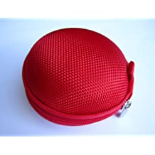Red Case for Plantronics Backbeat Go , Marque 2 M165 , Marque M155 , M55 M50 M28 M25 M24 M20 , Savor M1100 , M100 MX100 , Discovery 975 925 Wireless Bluetooth Headset M-165 M-155 M-55 M-50 M-28 M-25 M-24 M-20 M-1100 M-100 MX-100 Bag Holder Pouch Hold Box Pocket Size Hard Hold Protection - Protect Save Earhooks Ear Hook Ear Loop Ear Bud Ear Gel Eargel
