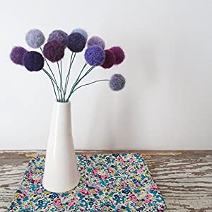 Purple Felt flowers. Lilac, Lavender Wool Pom Pom Flowers. Faux flower bouquet. Amethyst Gift. Purple Yarn Pompoms. Hydrangea 9