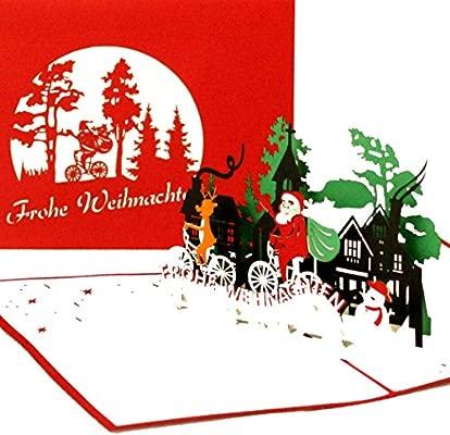 Tarjeta de Navidad Pop Up de Papá Noel 3D para regalo ...