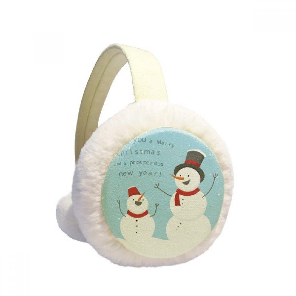 Merry Christmas Snowman Blue Sky Winter Earmuffs Ear Warmers Faux Fur Foldable Plush Outdoor Gift