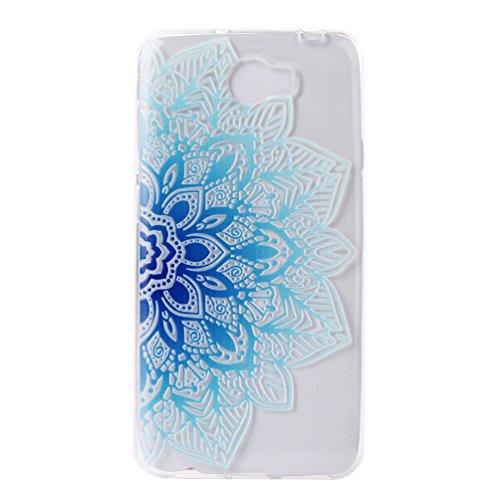 GZXiXi Huawei Y5 II/Y5 2 Funda transparente de silicona Funda suave flexible TPU Shell Ultra delgada Skin delgada de protección Anti-shock Anti-scratch Bumper con diseño: Tótem rojo Flor de loto azul