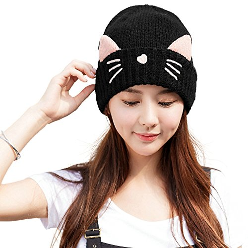 SIGGI Cat Ears Beanie Pussy Cat Hat Wool Knit Womens Winter Fleece Beanie Hats Warm Skull Beanies Black]()