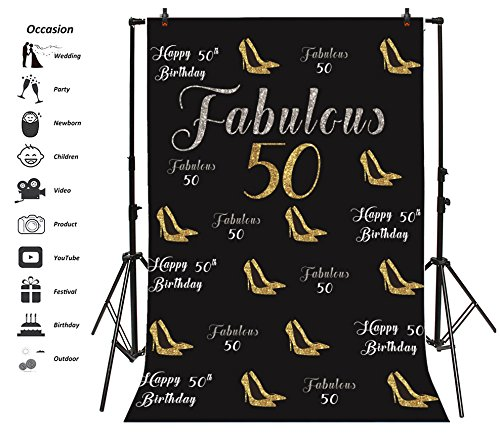- Leyiyi 4x6ft Fabulous 50th Birthday Photography Backgroud Luxry Fashion Lady High Heels Glitter Sequins Elegent Shoes Seamless Cool Banner Backdrop Happy B Day Photo Portrait Vinyl Studio Prop