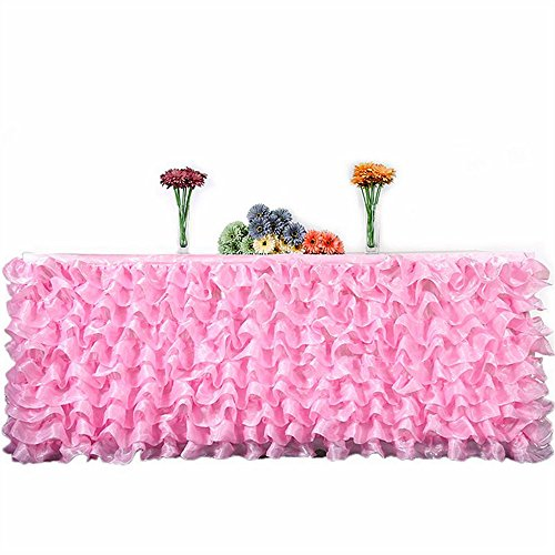 Everyspace 3 Yard Table Skirt Ruffle Pleated Tulle Cover for Wedding, Birthday, Baby Bridal Shower, Party Decoration (Pink) Gathered Tulle