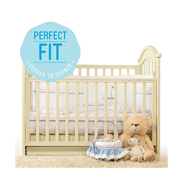 "Milliard 2-Inch Ventilated Memory Foam Crib/Toddler Bed Mattress Topper with Removable Waterproof 65-Percent Cotton Non-Slip Cover - 51.5"" x 27"" x 2"" 6"