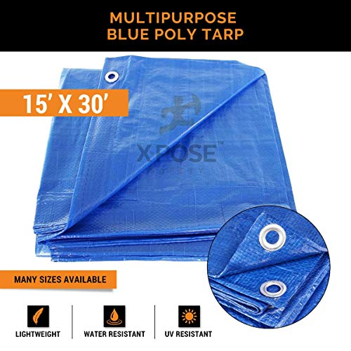 Blue Poly Tarp 15' x 30' - Multipurpose Protective Cover, Drop Cloth - Durable, Waterproof, Weather Proof - 5 Mil Thick Polyethylene - by Xpose Safety ()
