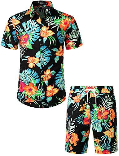 JOGAL Men's Flower Casual Button Down Short Sleeve Hawaiian Shirt Suits (Black, Medium)