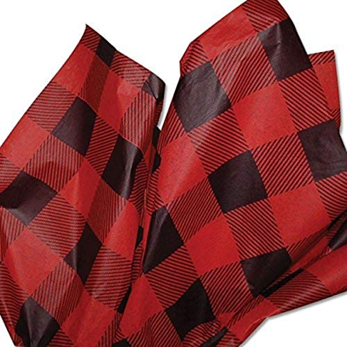 Buffalo Plaid Tissue Paper Lumberjack red and Black Sheets Gift Wrapping Tissue Sheets Christmas Parties Large 20″ x 30″ Pack of 24