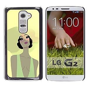 Be Good Phone Accessory // Dura Cáscara cubierta Protectora Caso Carcasa Funda de Protección para LG G2 D800 D802 D802TA D803 VS980 LS980 // Beach Summer Girl Portrait Big Hat Yellow