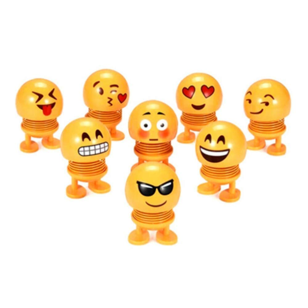 Kaptin 8 PCS Emoticon Spring Doll Smiling Face Spring Doll Shaking Head Dancing Doll Toy Bouncing Doll Desktop Doll Kids Party Favors Bounce Figure Dashboard Spring Figure Car Spring Doll by Kaptin (Image #8)