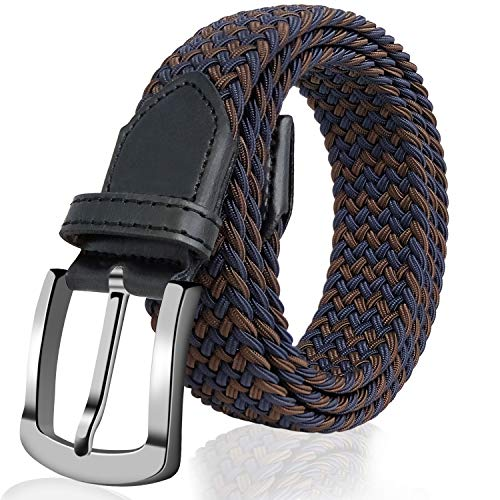 (Elastic Braided Belt, Fairwin Enduring Stretch Woven Belt for Men/Women/Junior (M (for waist 32''-35''), Brown Blue))