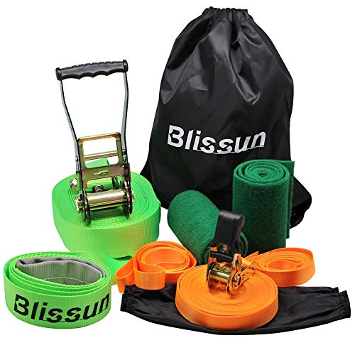 Blissun Slackline Kit with Training Line, Tree Protectors, Ratchet Cover, Arm Trainer and Carry Bag, 57ft Easy Set up Slack Lines for Kids, Adults, Boys, Girls