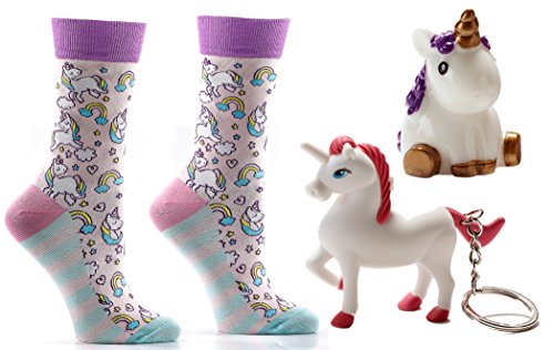 Unicorn Lovers Bundle Gift Set including Yo Sox Unicorn Sox, Lip Balm, and Key Chain with Light/Noise (PURPLE) (Shoe Lip Gloss Keychains)