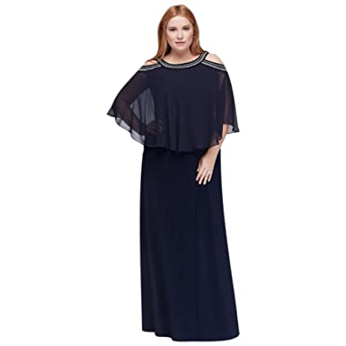 Davids Bridal Cold Shoulder Capelet Plus Size Mother Of Bride Groom Dress With Beading At Amazon Womens Clothing Store
