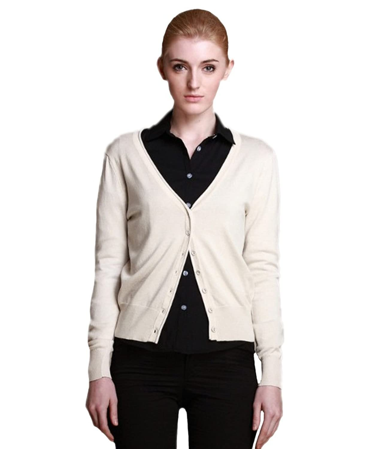 OU GRID Women's Basic V-neck Long Sleeve Solid Button Down Cardigan Sweater