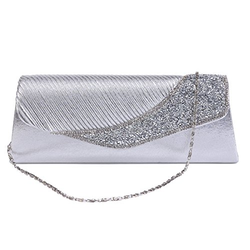 Embellishment Crystal gold Pleated Flap Womens Bag Wedding Damara Light Evening qIwtFn