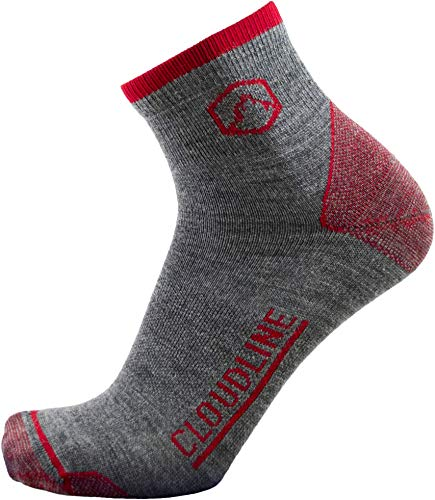 CloudLine Merino Wool 1/4 Top Running & Athletic Socks - Ultra Light - Large Redwood - Made in the ()