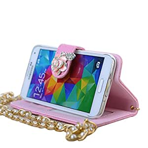 Luxury Fashion Pu Leather Camellia Diamond Flower Wallet Card Holder Case Cover for Samsung Galaxy S5 Sv G900 (pink)