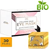 24K Gold Glow Collagen Under Eye Treatment Pads| Hyaluronic Acid Eye Patches Eliminates Wrinkles,Dark Outs,Under Eye Puffiness! Moisturizer Firming Eye Mask For Women & Men