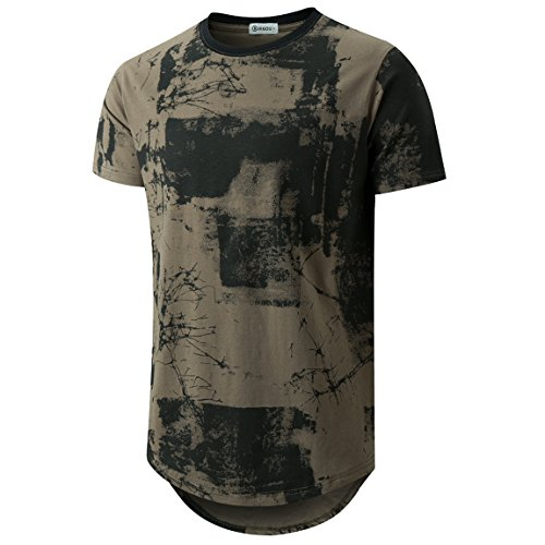 KLIEGOU Mens Hipster Hip Hop Ripped Round Hemline Pattern Print T Shirt 86 ArmyGreen XXL