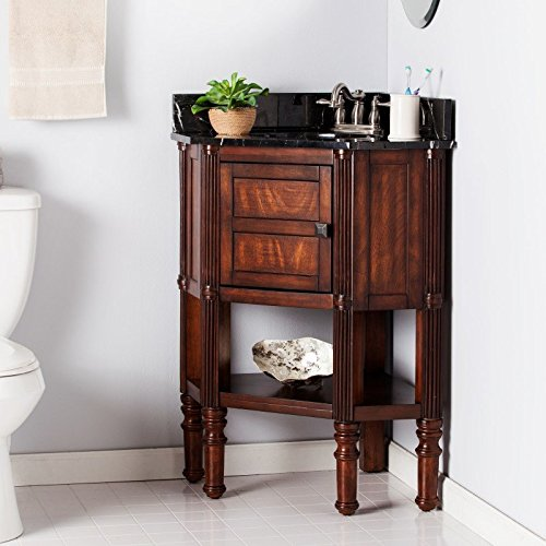 Southern Enterprises Beckingham Corner Bath Vanity in Oak Saddle Finish