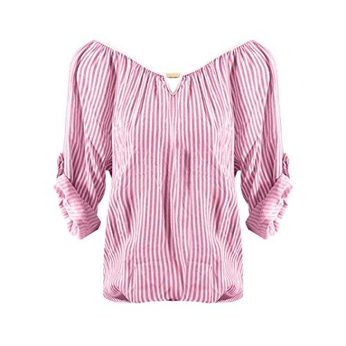 Camicetta Camicie Bluse Forti Taglie Camicie Rosa Lungo Donna 5Xl Strisce Manica Dragon868 Donna Estivi E dqCwzdF