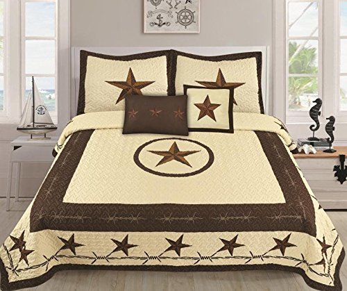Royal Linen Western Bedding Set - Lone Star Bedspread Kit - Set of 5 Pieces Duvet & Pillow Cases - Soft and Comfortable Quilt Bedspread - Beige Color - King & Queen Size Bed (Oversize King)
