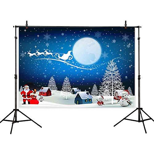 (Allenjoy 7x5ft Christmas Backdrop Animated House Snowman Santa Claus Child Cartoon Style Photo Photography)