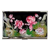 Antique Alive Mother of Pearl Pink Lotus Flower Design Business Credit Card Holder Metal Wallet (B113)