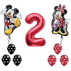Red Number 2 Mickey and Minnie Mouse Full Body Birthday Supershape Balloon Set