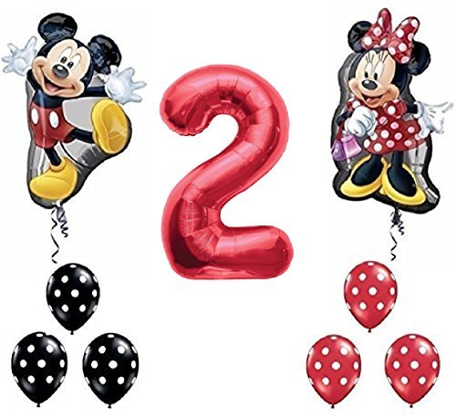 Qualatex Red Number 2 Mickey and Minnie Mouse Full Body Birthday Supershape Balloon Set