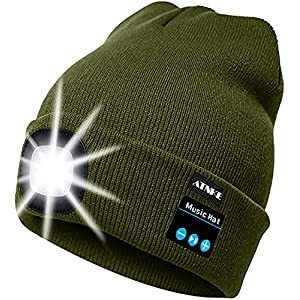 51FBe 0gjCS. SS300 ATNKE LED beleuchtete Bluetooth-Beanie-Kappe, wiederaufladbare USB-Musikalische Laufmütze mit extrem hellem 4-LED-Licht…