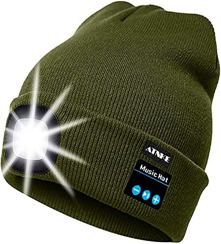 51FBe 0gjCS ATNKE LED beleuchtete Bluetooth-Beanie-Kappe, wiederaufladbare USB-Musikalische Laufmütze mit extrem hellem 4-LED-Licht…